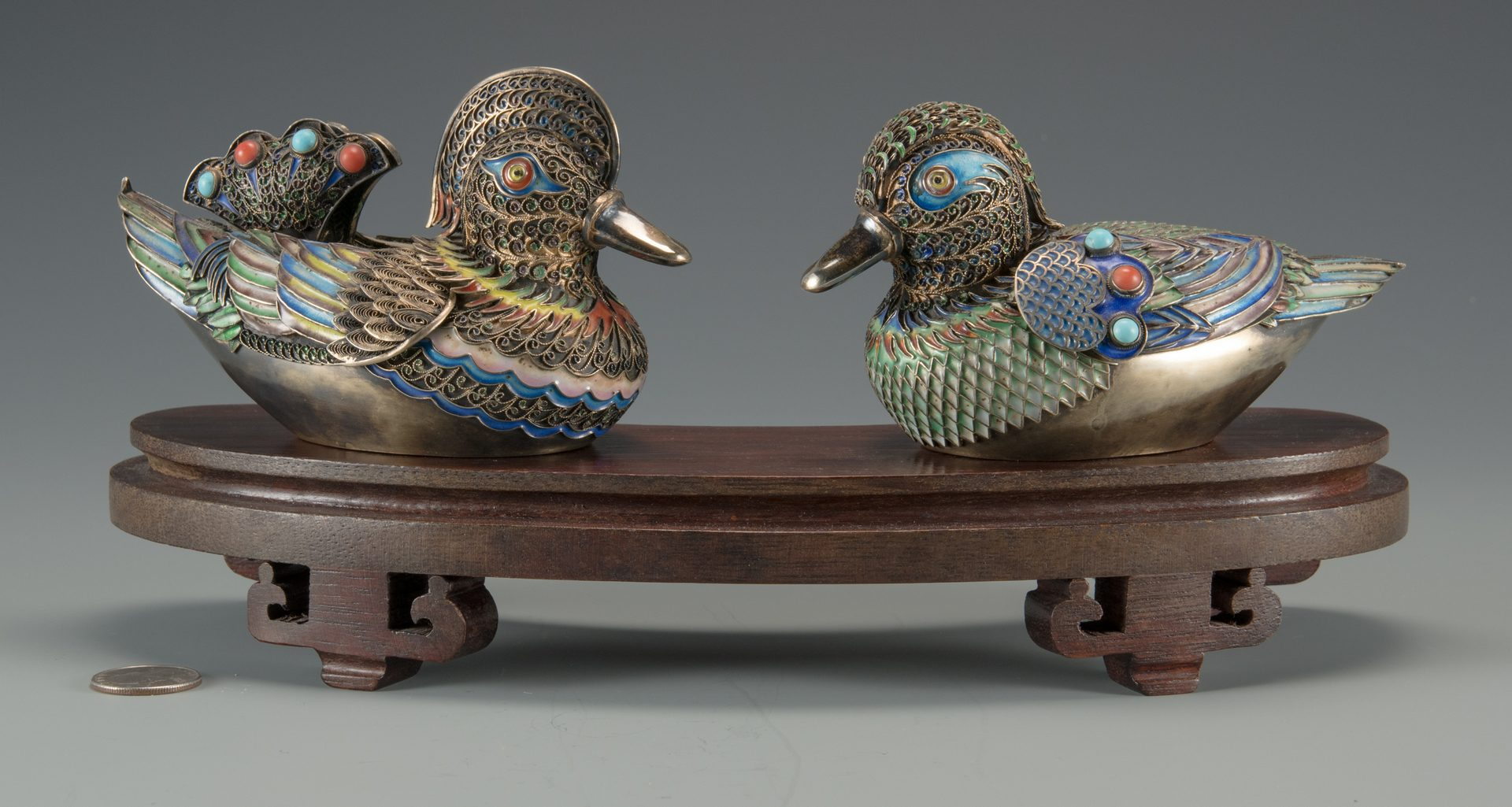 Lot 4: Pr. Asian Cloisonne Enamel Ducks