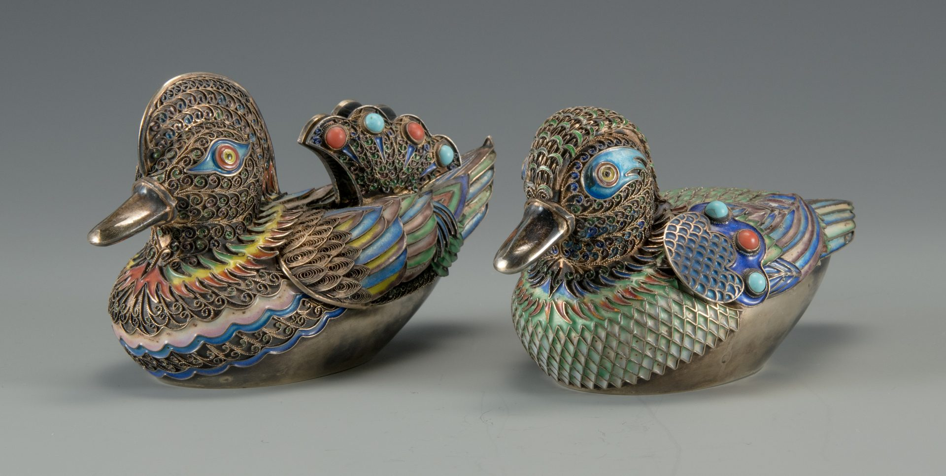 Lot 4: Pr. Asian Cloisonne Enamel Ducks