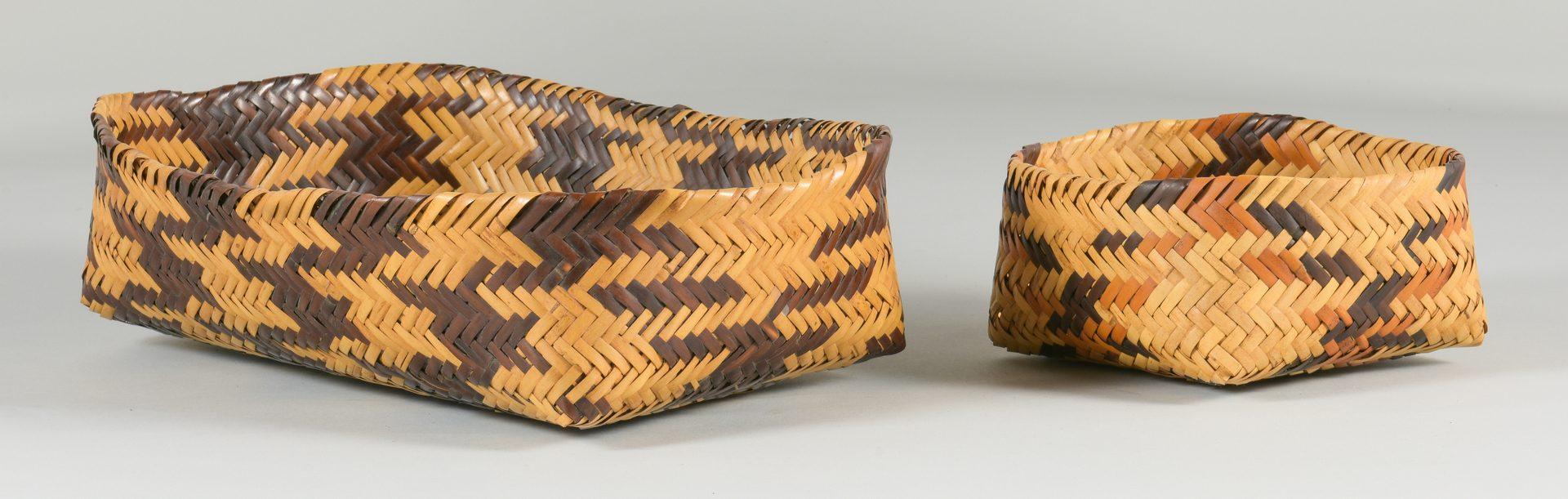 Lot 508: 2 Cherokee Double Weave Rivercane Baskets