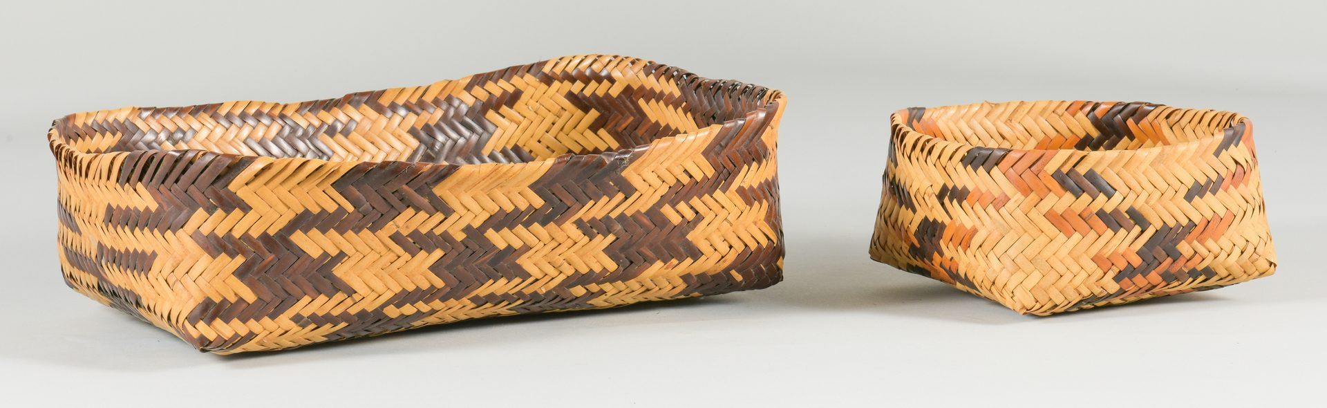 Lot 508: 2 Cherokee Double Weave Rivercane Baskets