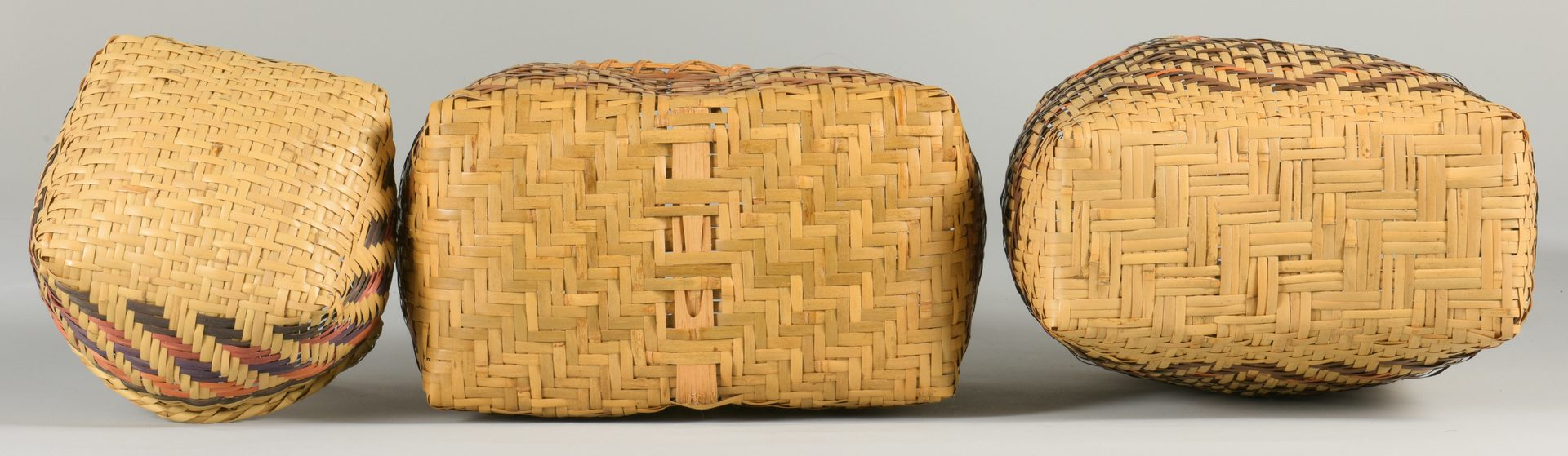 Lot 509: 3 Cherokee  Rivercane Carrying Baskets