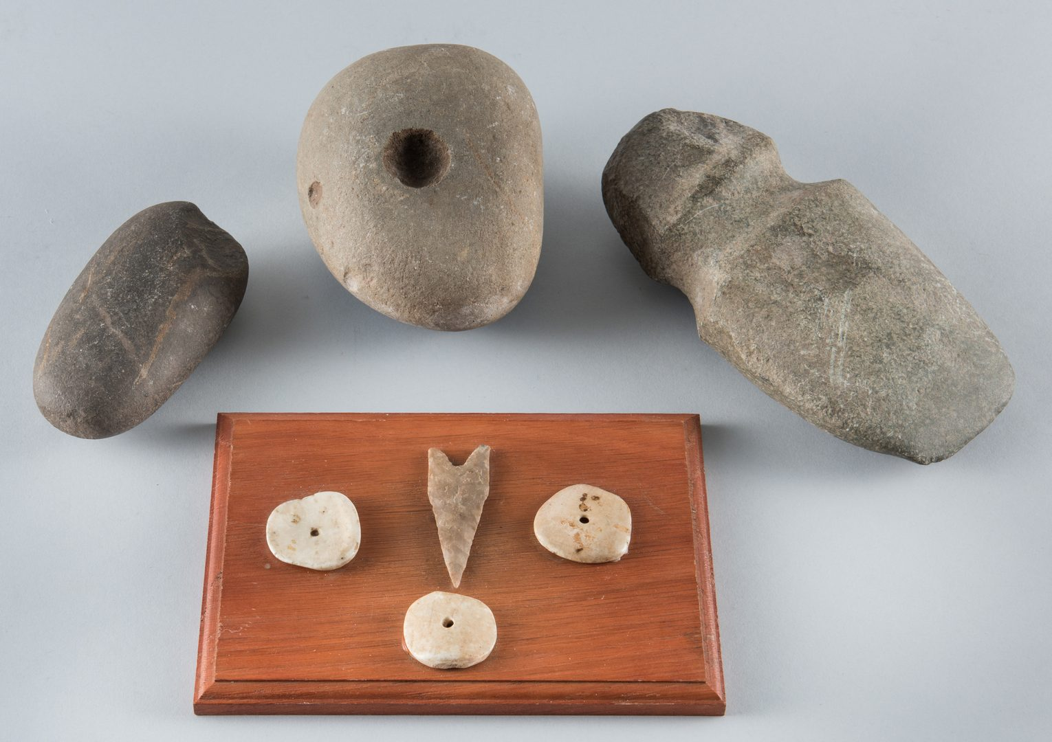 """Lot 512: Group of Native American objects inc. 5"""" axe head"""