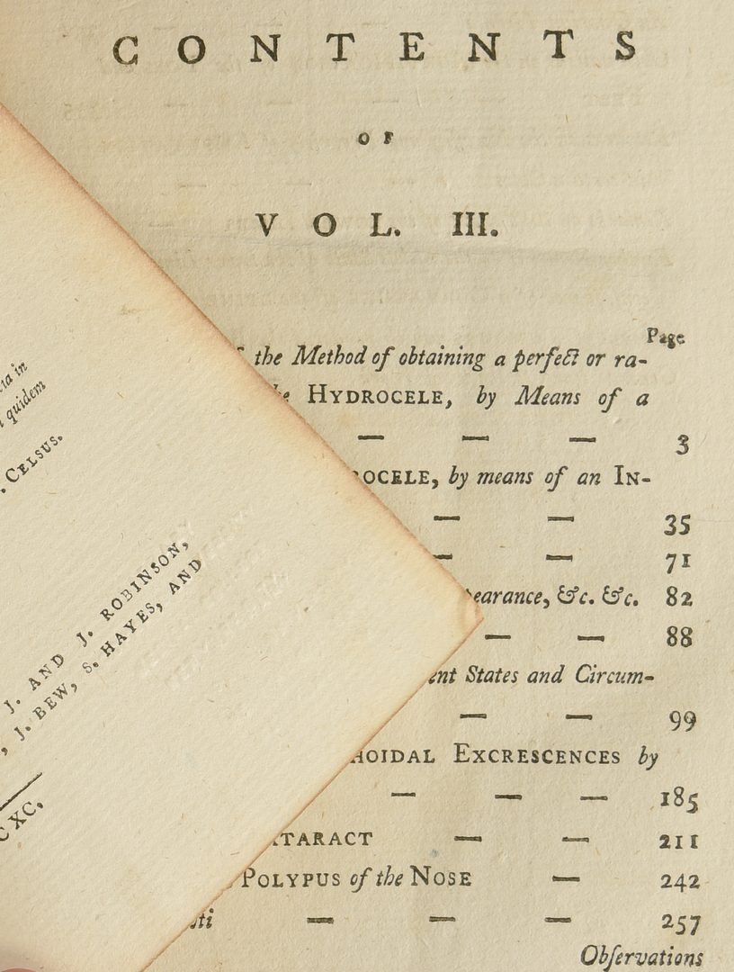 Lot 529: 3 Medical Books by Percivall Pott 18th C.