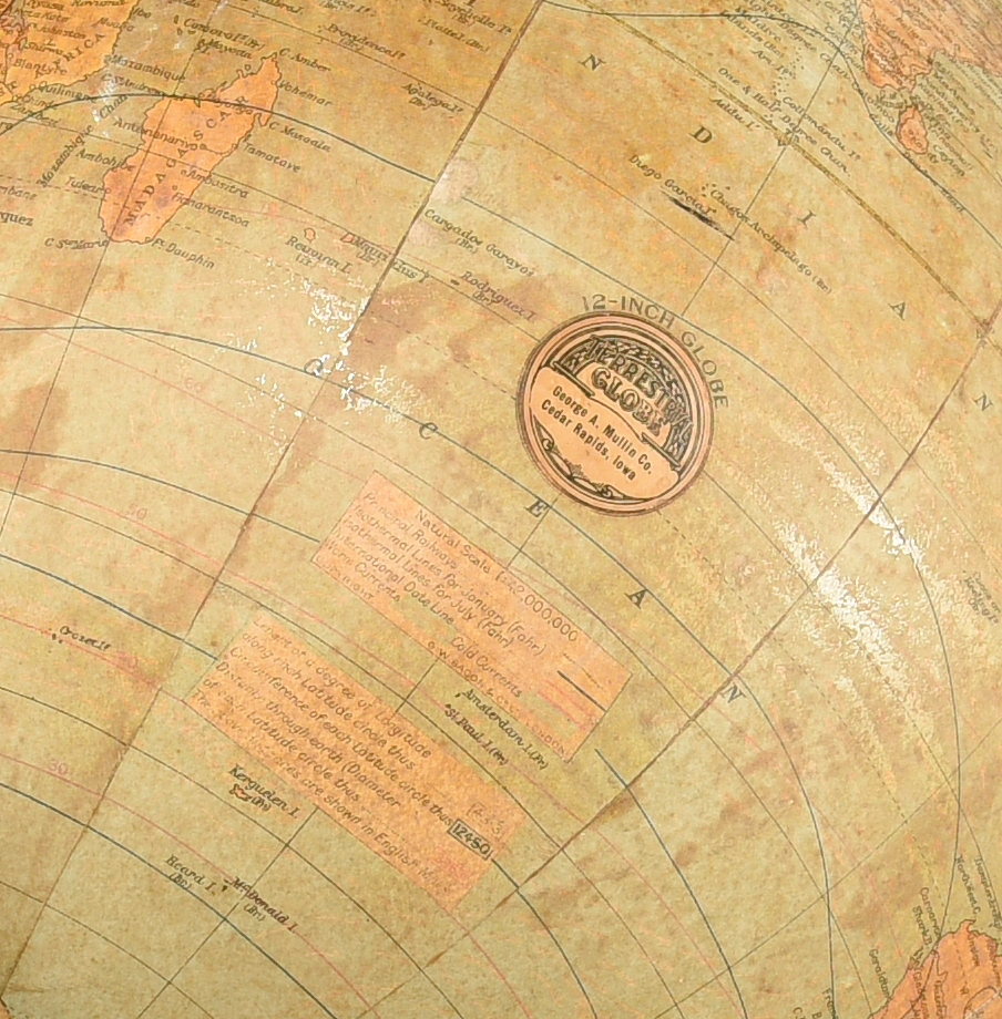 Lot 532:  G. A. Mullin Co. Terrestrial  Globe on Stand