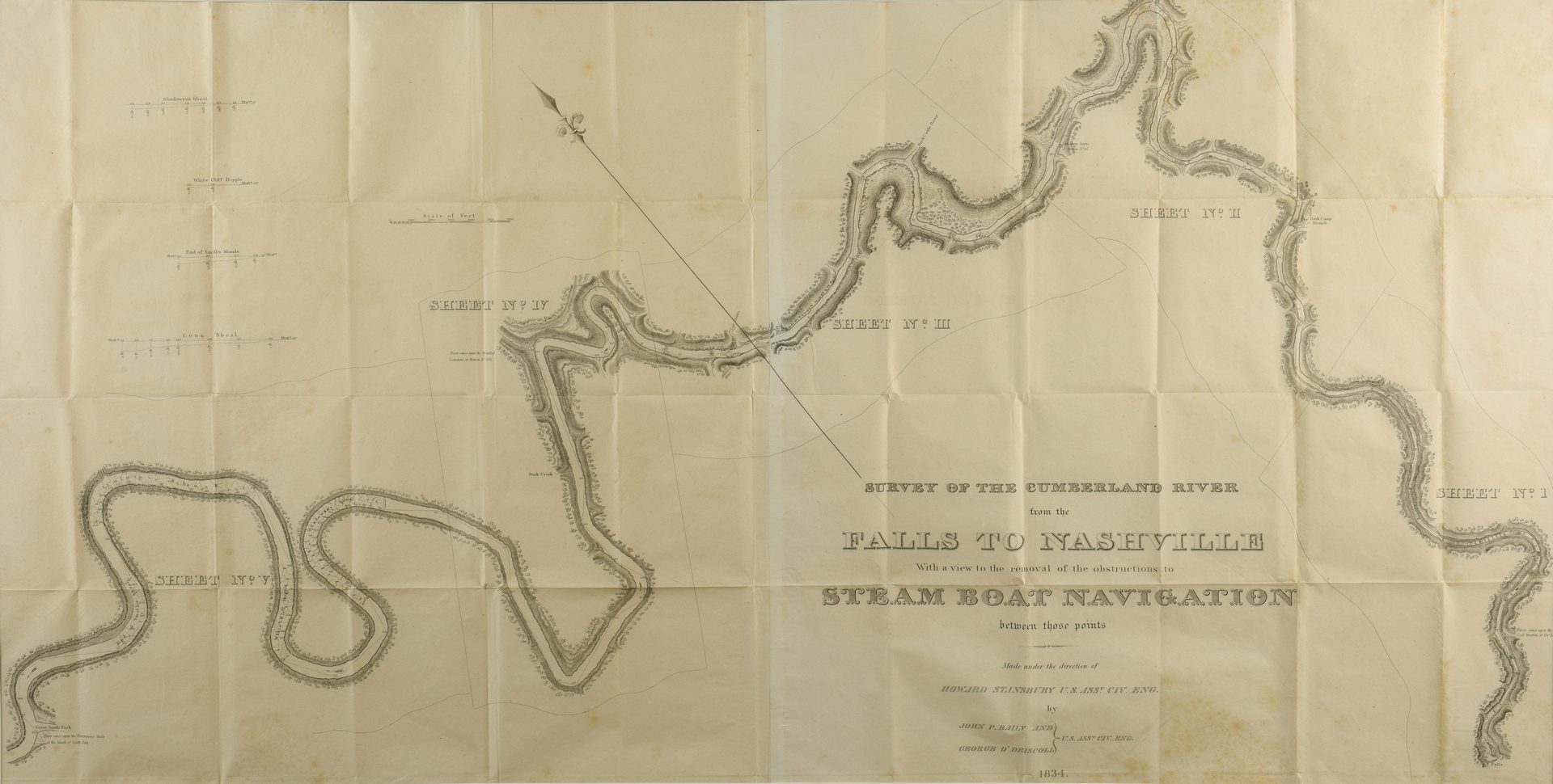 Lot 533: Survey of the Cumberland River, 1834 Steamboat Map