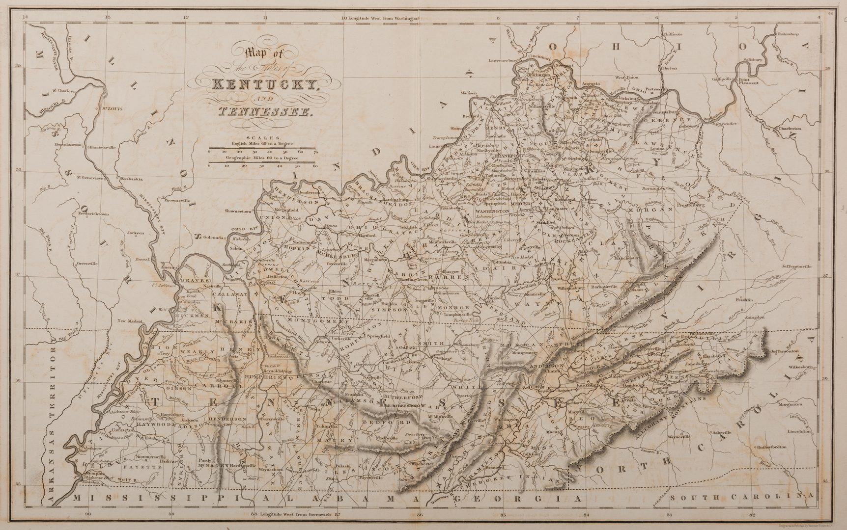 Lot 537: 3 19th cent. AL, KY, & TN Maps