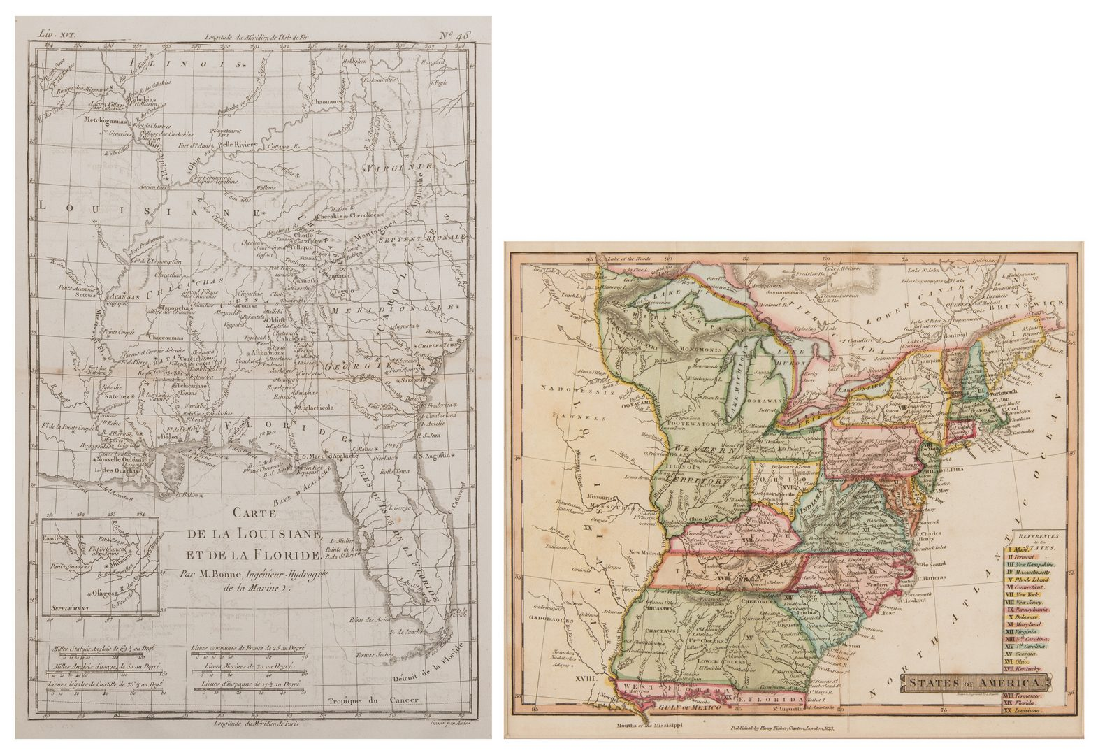 Lot 538: 2 Maps, LA/FL and US, Late 18th and early 19th century