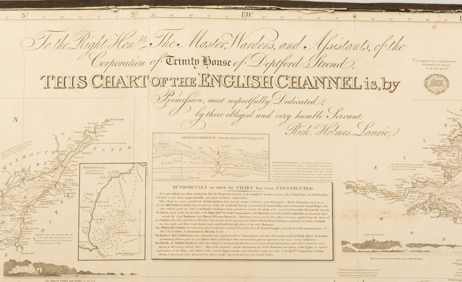 Lot 543: Nautical Map English Channel, R.H. Laurie
