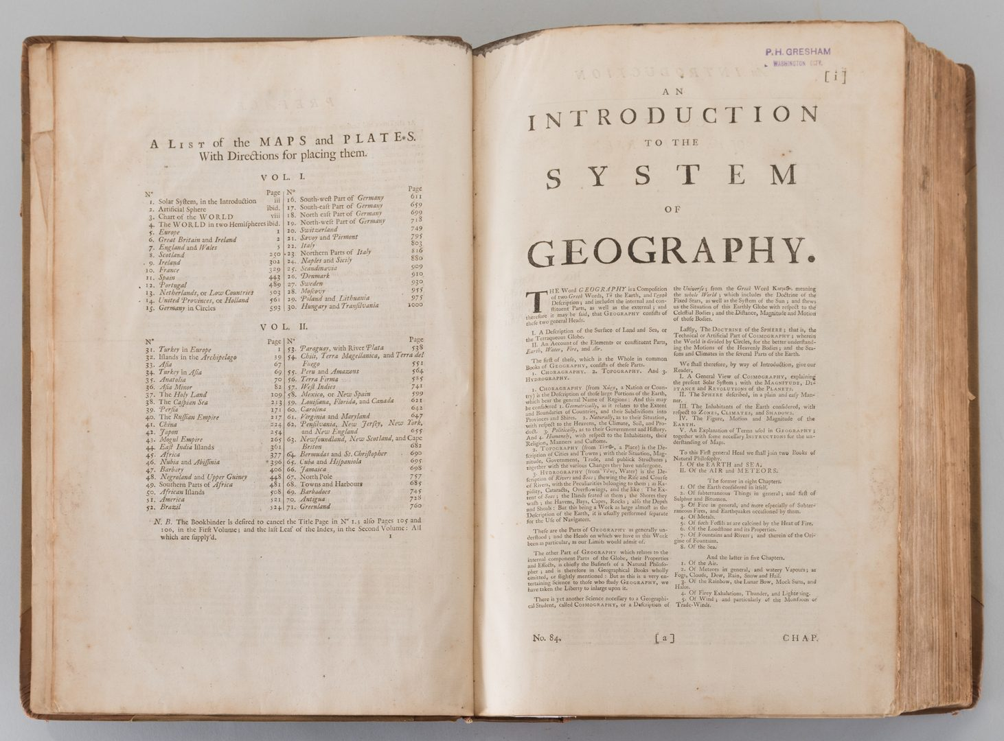 Lot 548:  A Complete System of Geography, Vol. I Bowen 1747