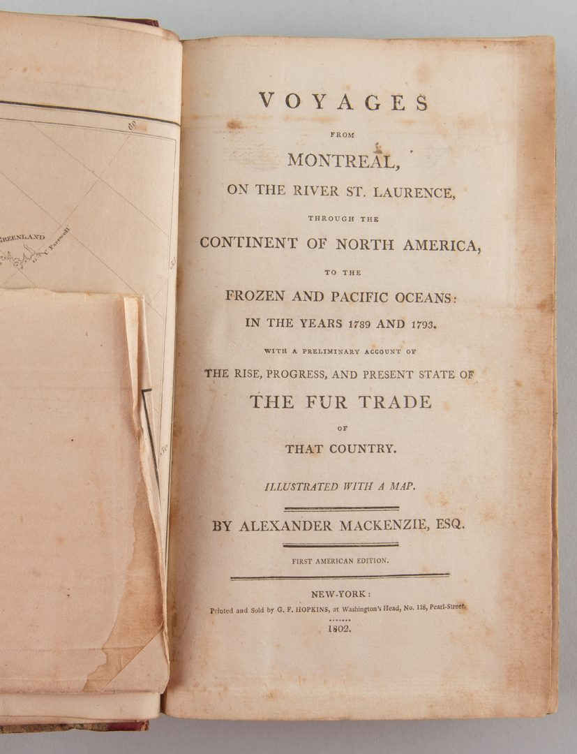 Lot 550: Voyages from Montreal Fur Trade Map 1802