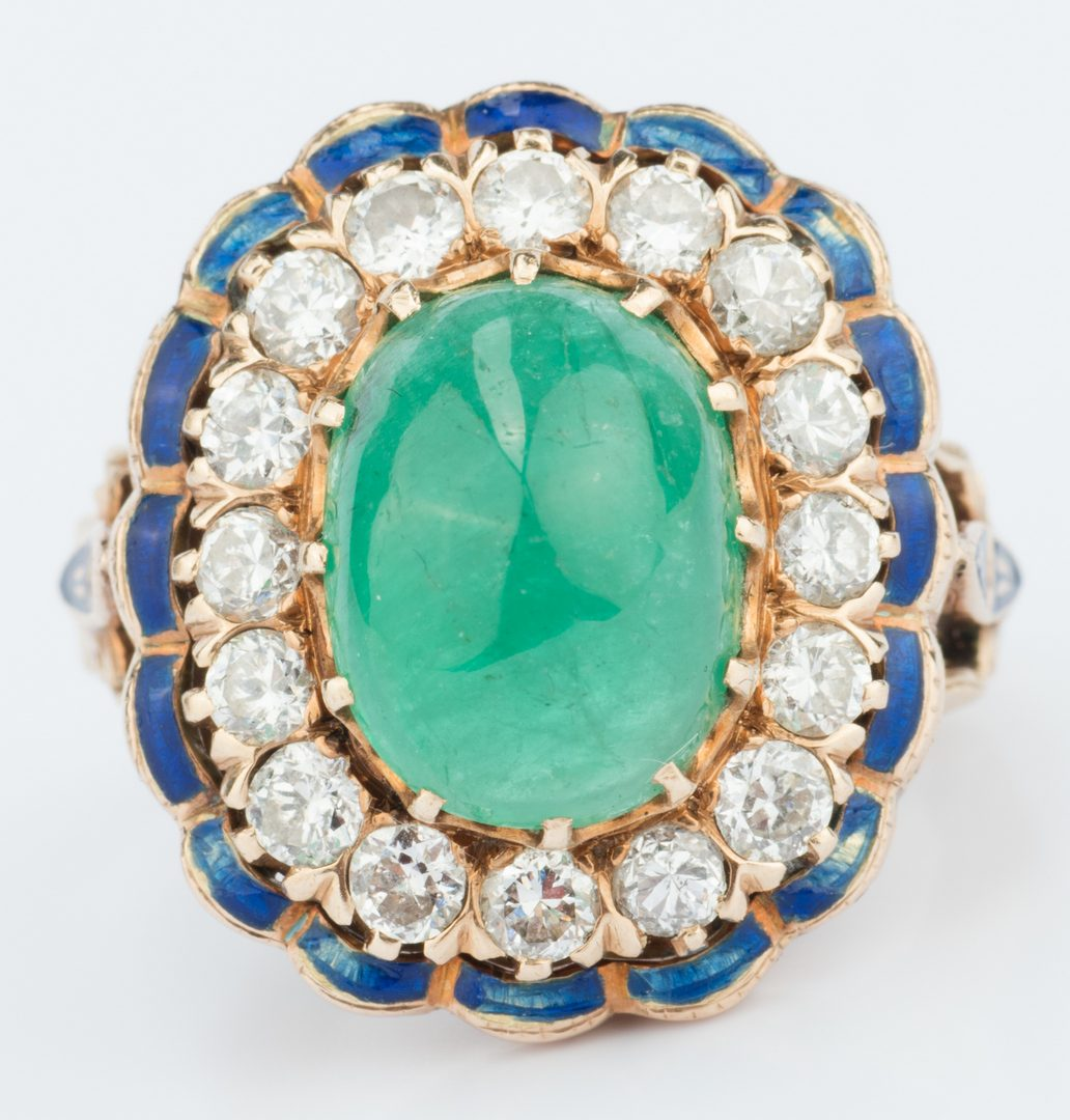 Lot 55: Emerald, Diamond and Enamel Ring