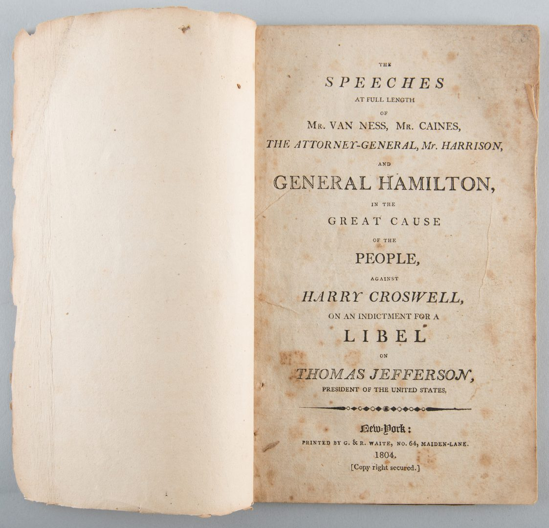 Lot 560: Pamphlet from Jefferson Libel Case, 1804