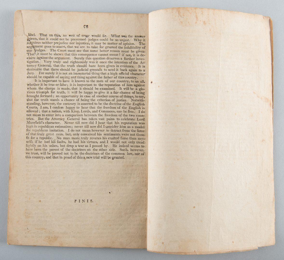 Lot 560: Pamphlet from Jefferson Libel Case, 1804