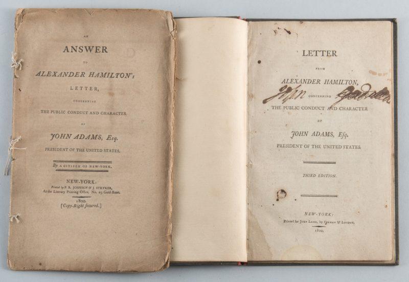 Lot 561: 2 Pamphlets: Alexander Hamilton and John Adams