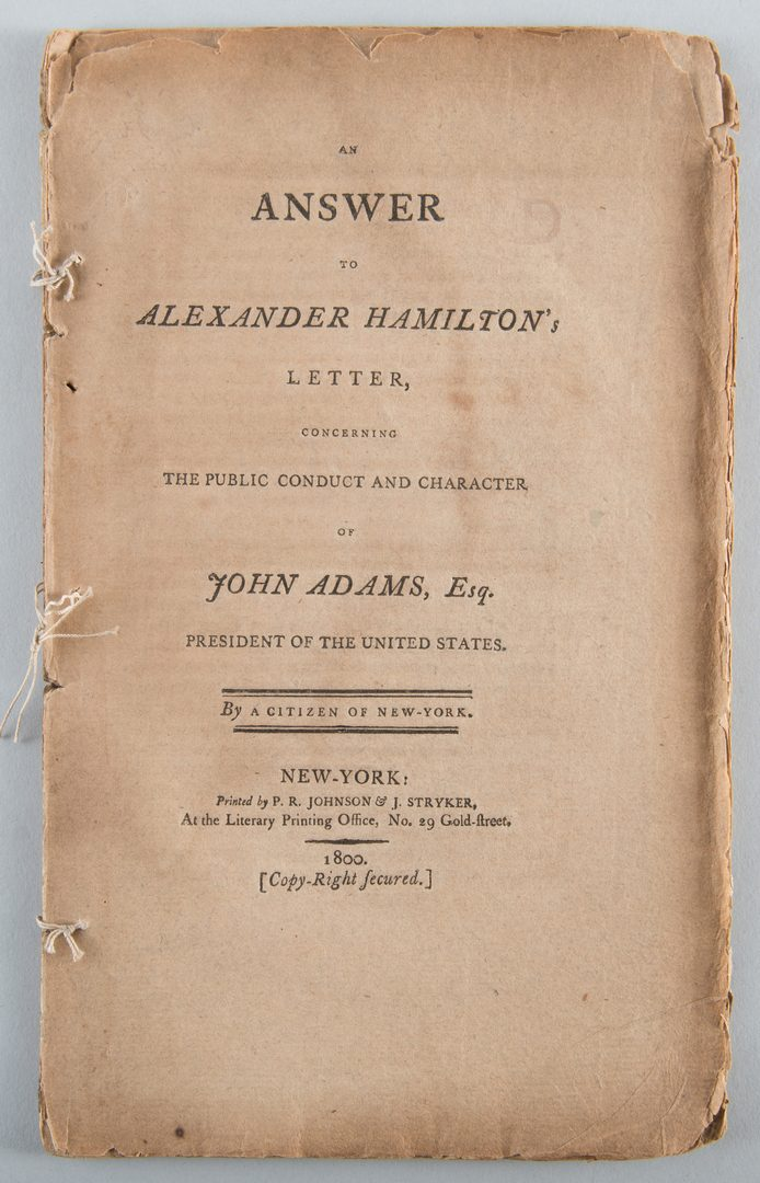 Lot 561: 2 Pamphlets: Alexander Hamilton and John Adams