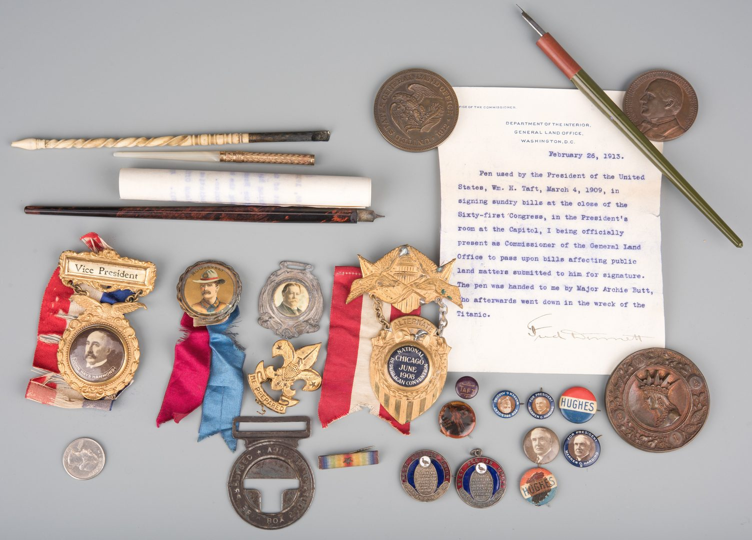 Lot 562: 25 Political items, including Roosevelt Pin, Taft Pens