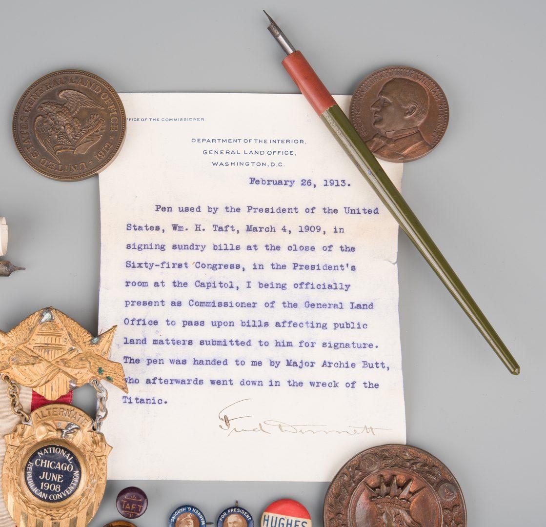 Lot 562: 25 Political items, including Roosevelt Pin, Taft Pens