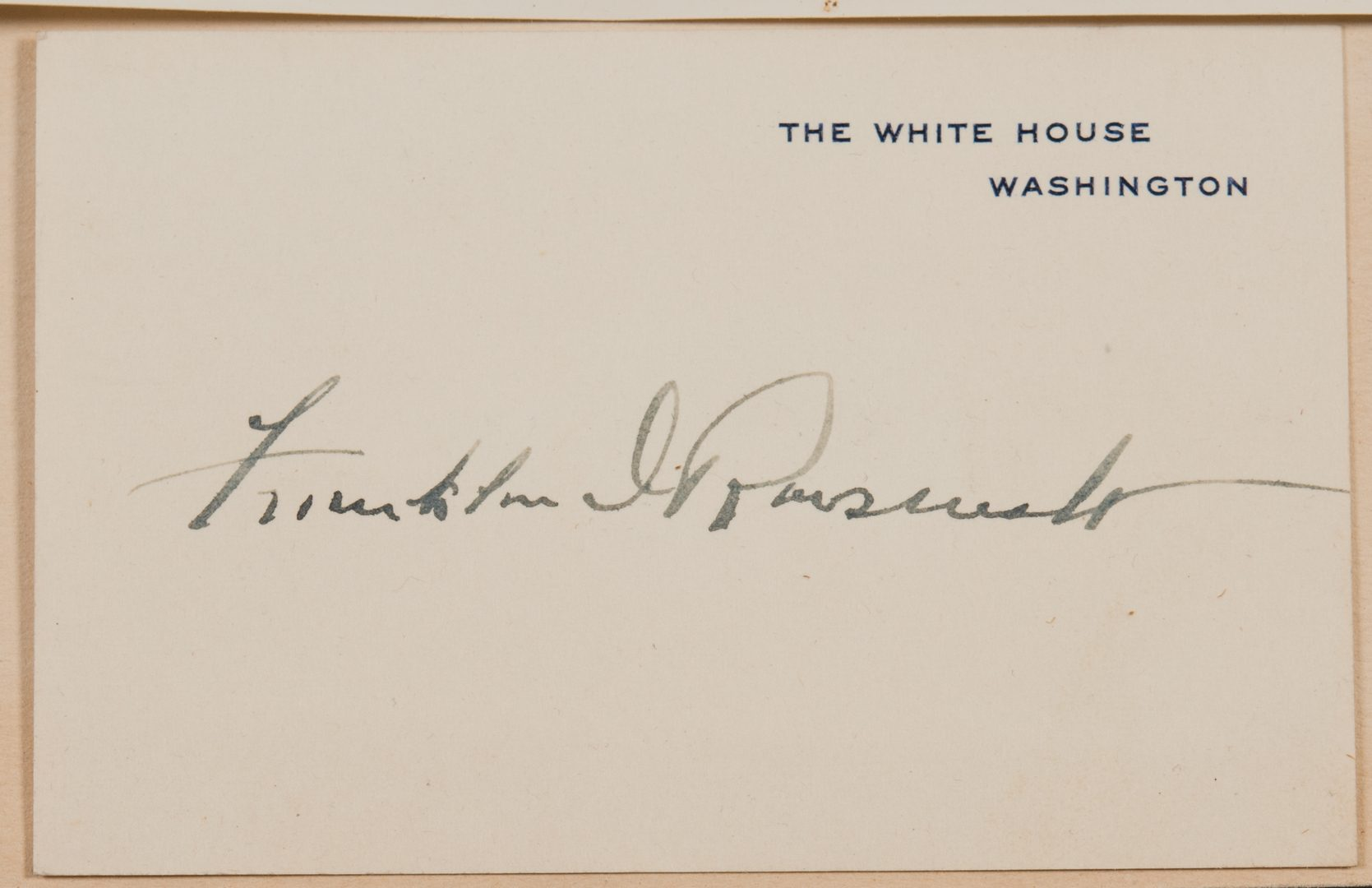 Lot 565: F.D. Roosevelt Signed Card, Photo