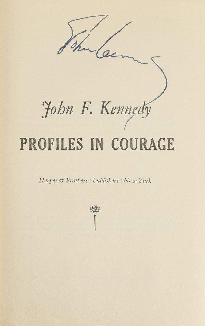 Lot 566: John F Kennedy autographed book