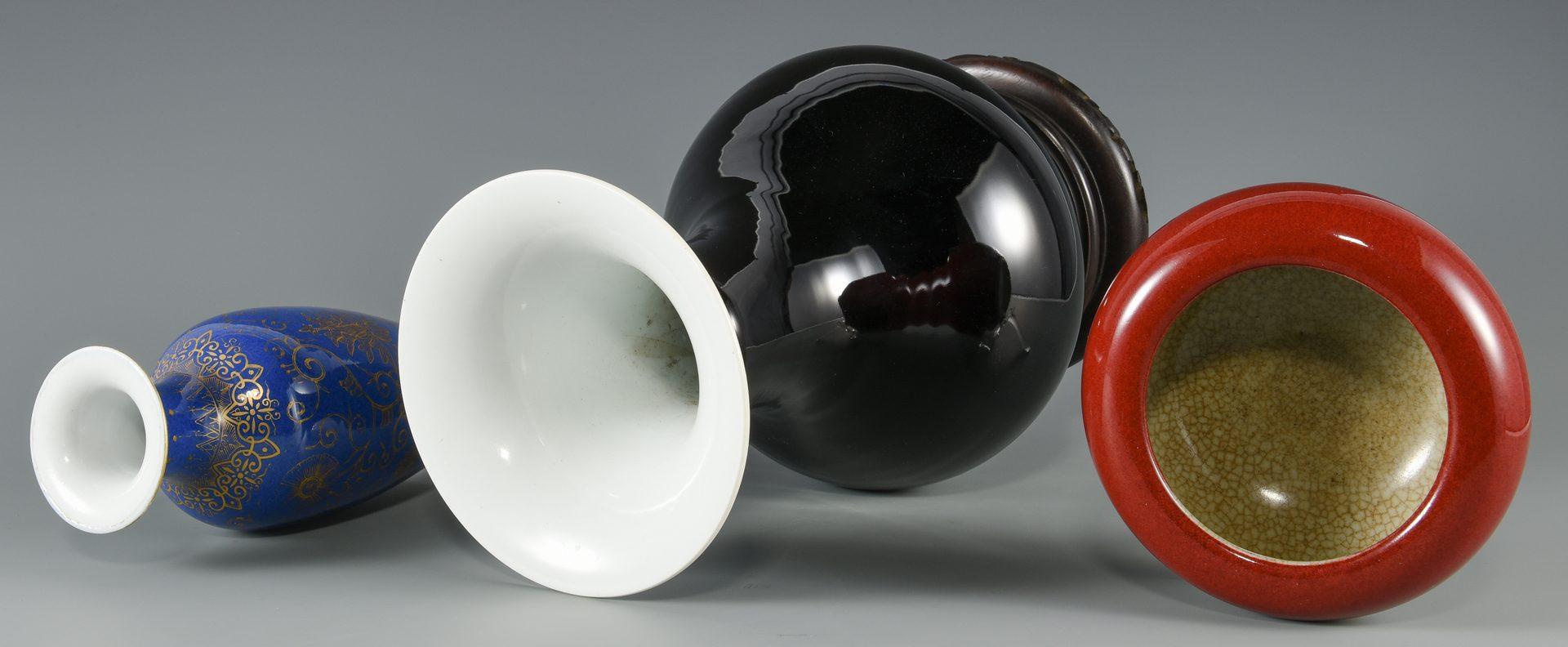 Lot 581: 3 Pcs. Chinese Porcelains – Vases, Brush Washer