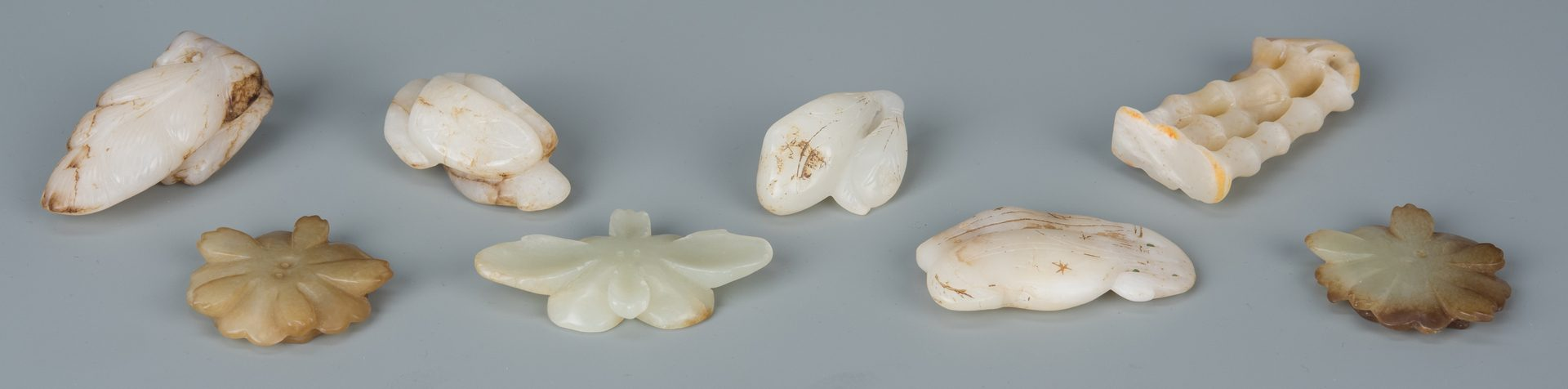 Lot 587: 8 Chinese Jade Carved Toggles
