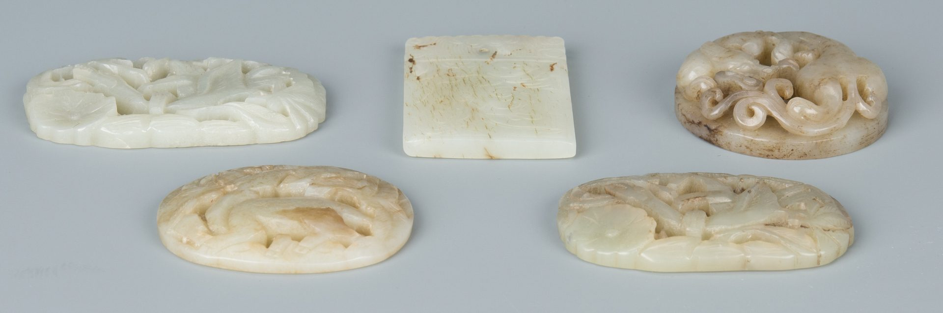 Lot 588: 5 Carved Chinese Celadon Jade Items