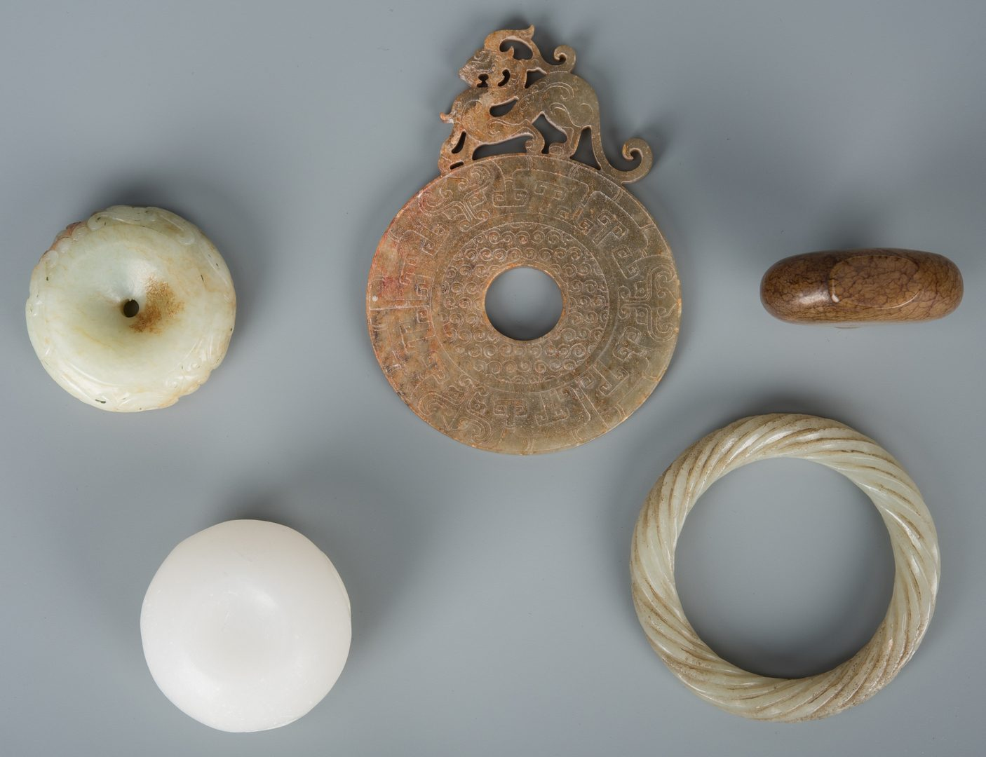 Lot 589: 5 Asst. Chinese Jade & Hardstone Items