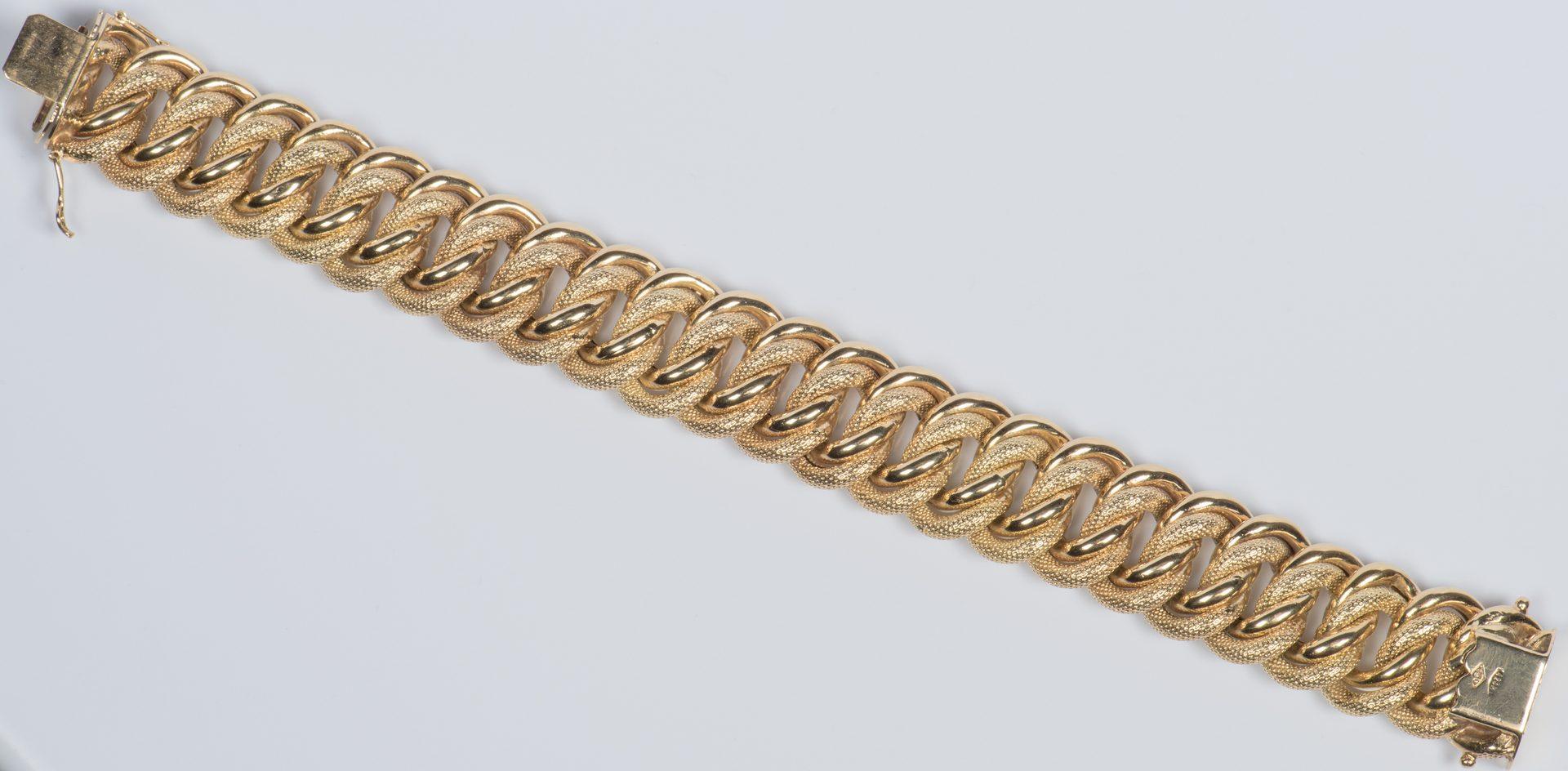 Lot 58: 18K Wide Link Bracelet, 65.2 grams
