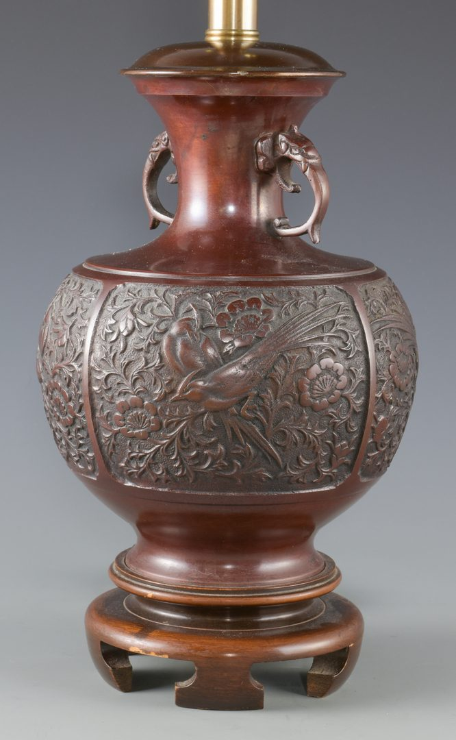 Lot 590: 3 Asian Metal Candlesticks and 1 Lamp