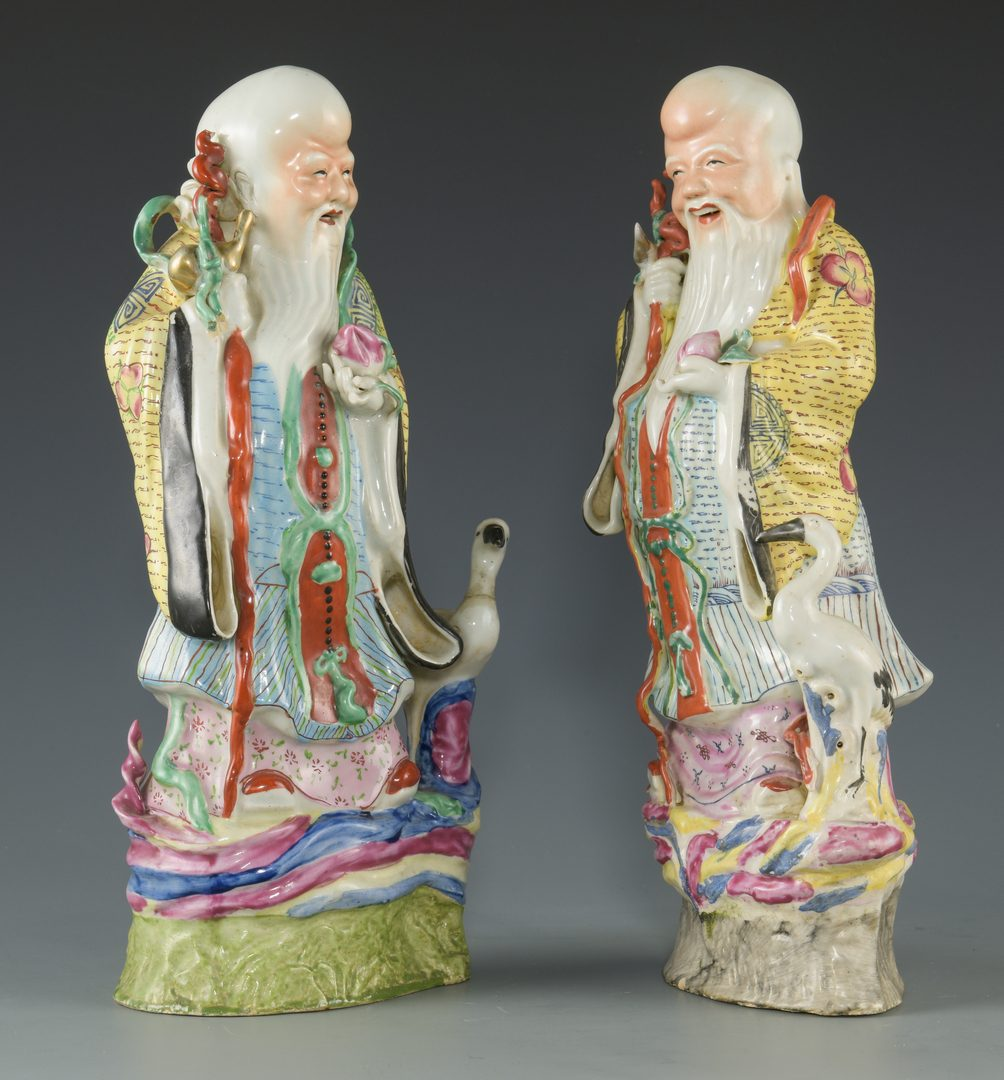 Lot 591: 2 Chinese Porcelain Longevity Figures