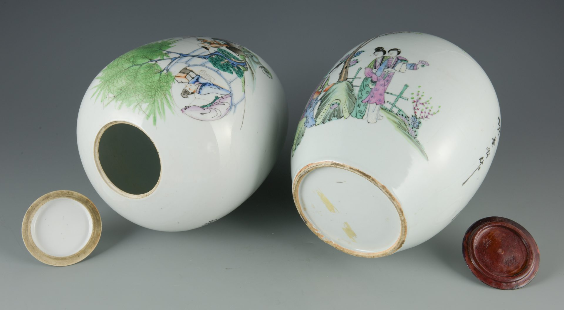 Lot 597: Two Chinese Famille Rose Ginger Jars