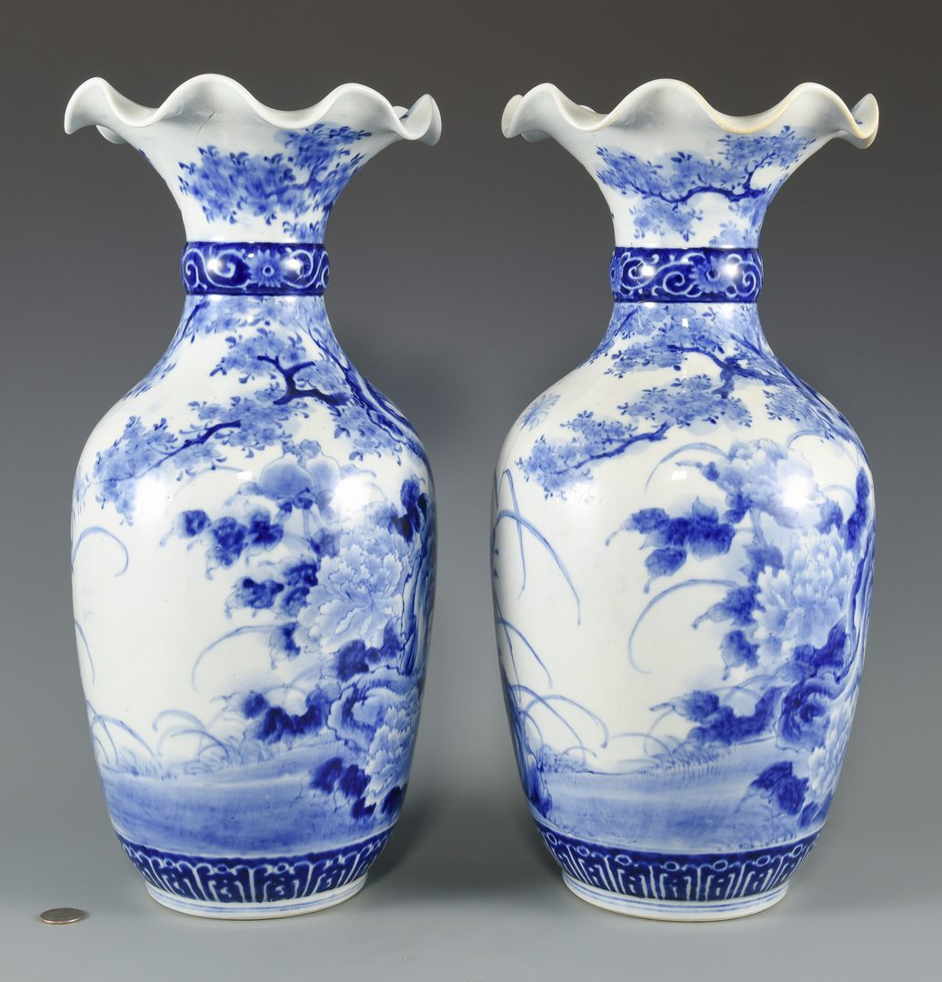 Lot 604: Pr. Japanese Blue & White Porcelain Vases