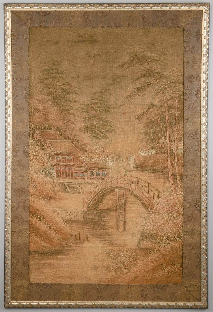 Lot 605: Meiji Embroidered Landscape Panel