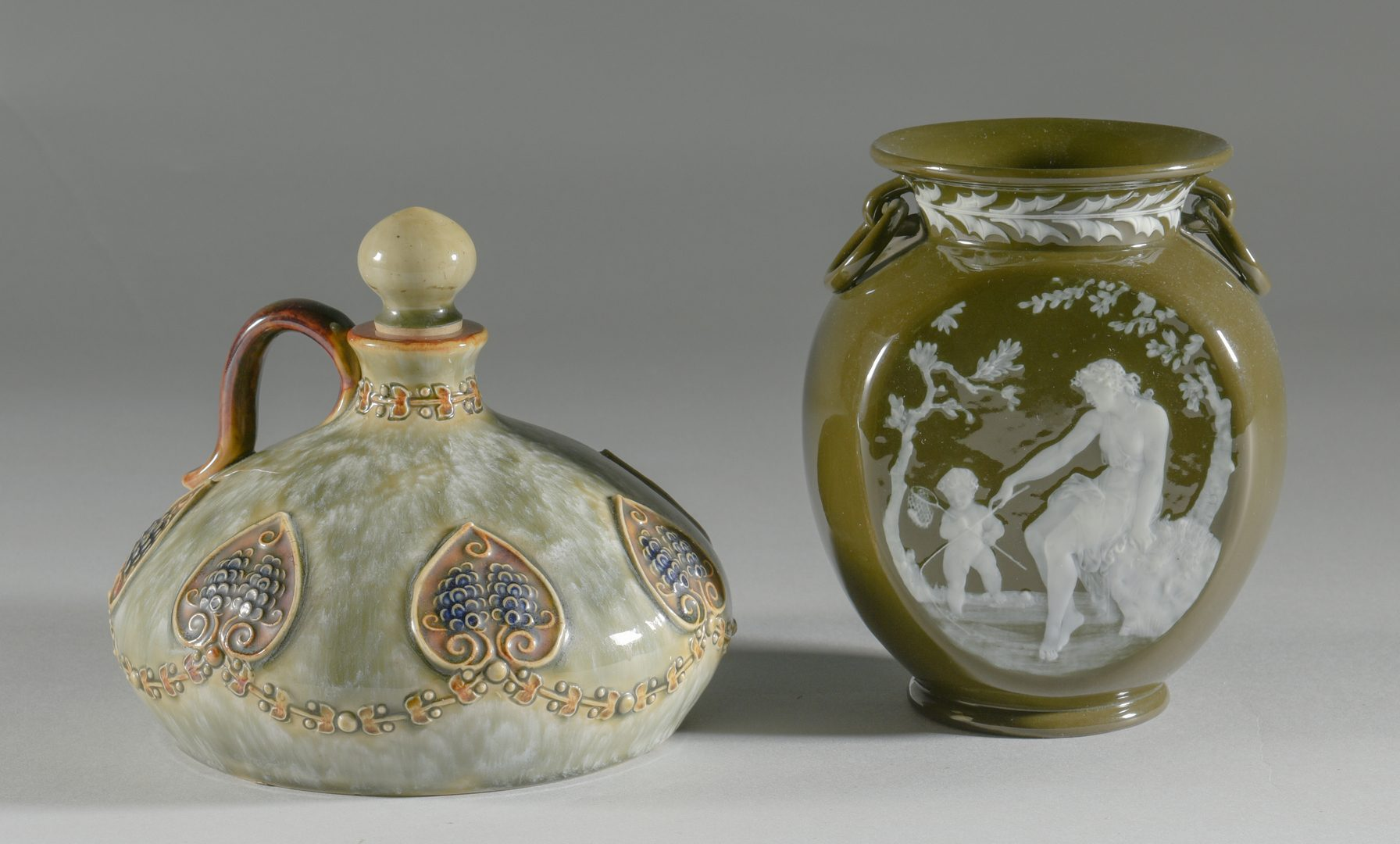 Lot 607: Pate sur Pate Vase and Lambeth Ewer