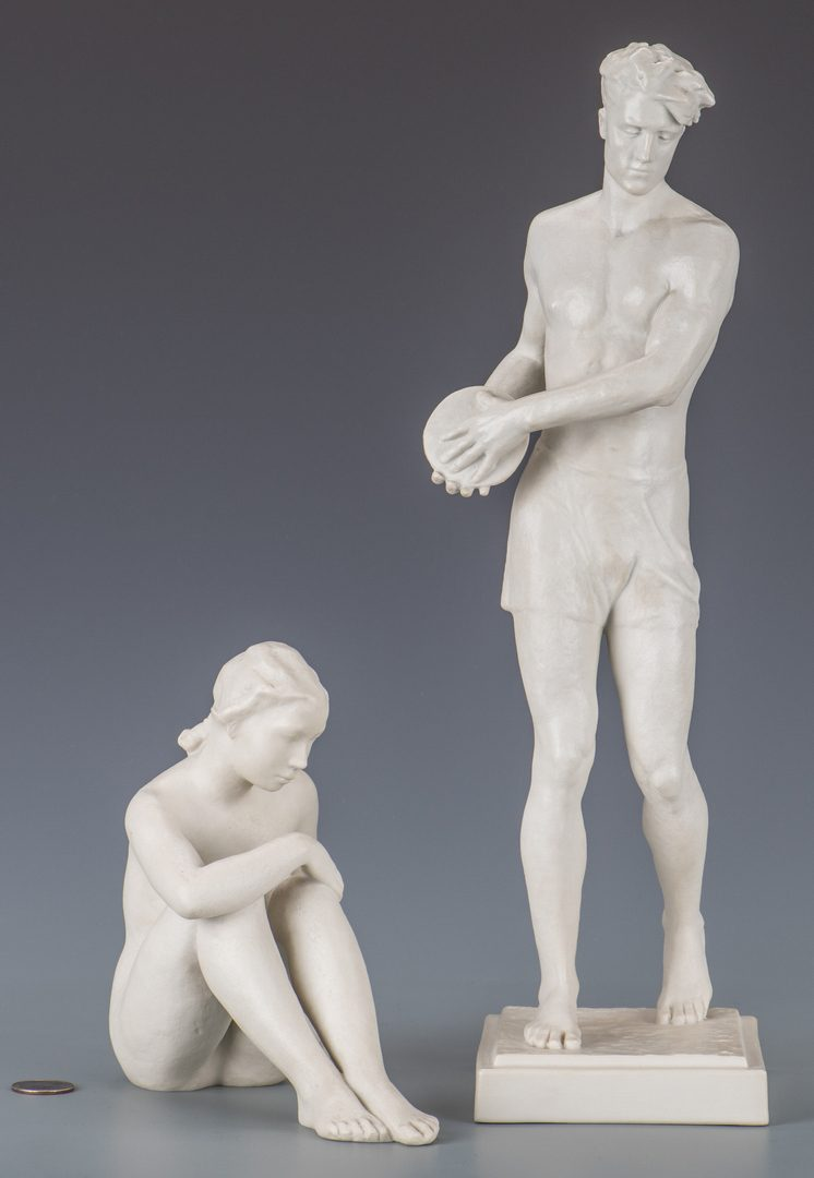 Lot 608: Pair of Rosenthal Figures, Discus Thrower and Female