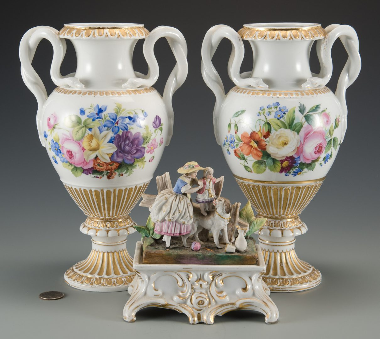 Lot 609: Pr Meissen Vases plus inkwell