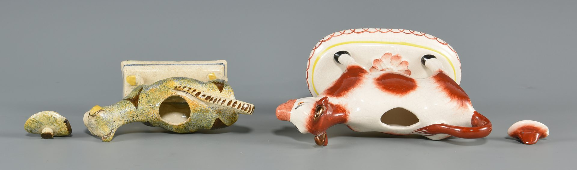 Lot 613: Two Staffordshire Cow Creamers inc. Pearlware