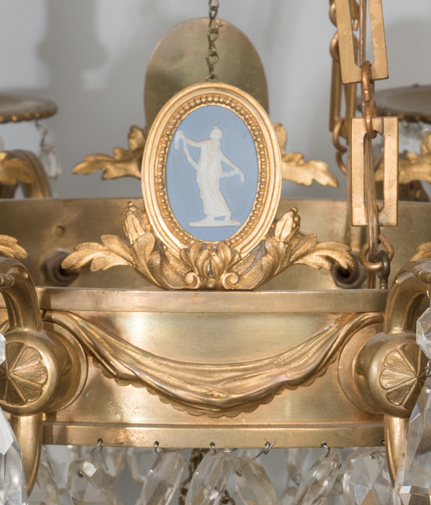 Lot 622: Gilt Bronze Wedgwood Chandelier