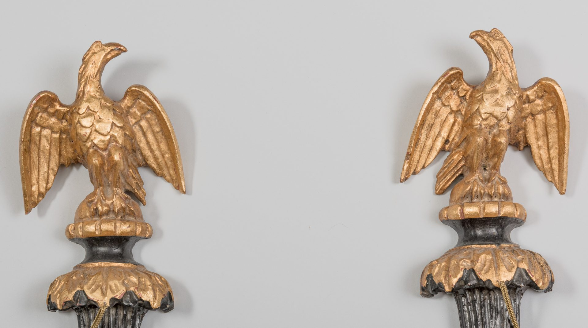Lot 625: Pr. Eagle Wall Sconces & Carved Eagle