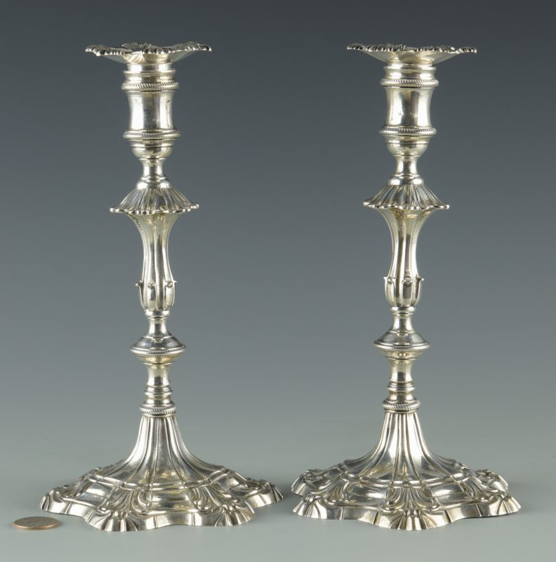 Lot 62: Pr. Geo. III Sterling Candlesticks