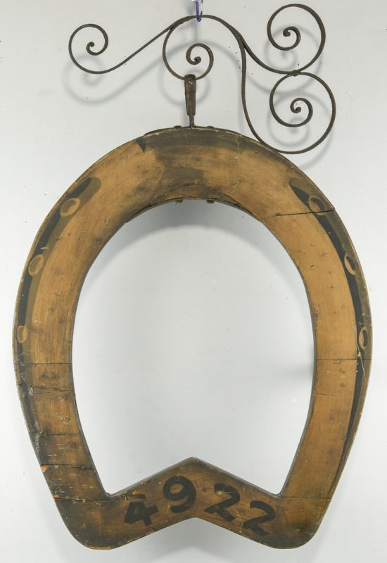 Lot 630: Horseshoe Livery Stable Trade Sign, Chicago