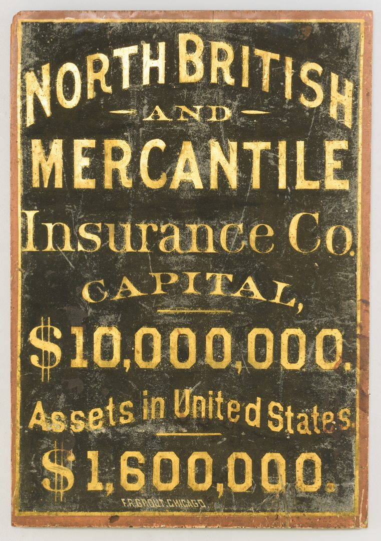 Lot 631: Chicago Insurance Co. Painted Trade Sign