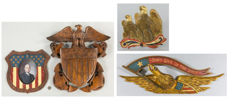 Lot 633: 4 Folk Art Americana Eagle Items