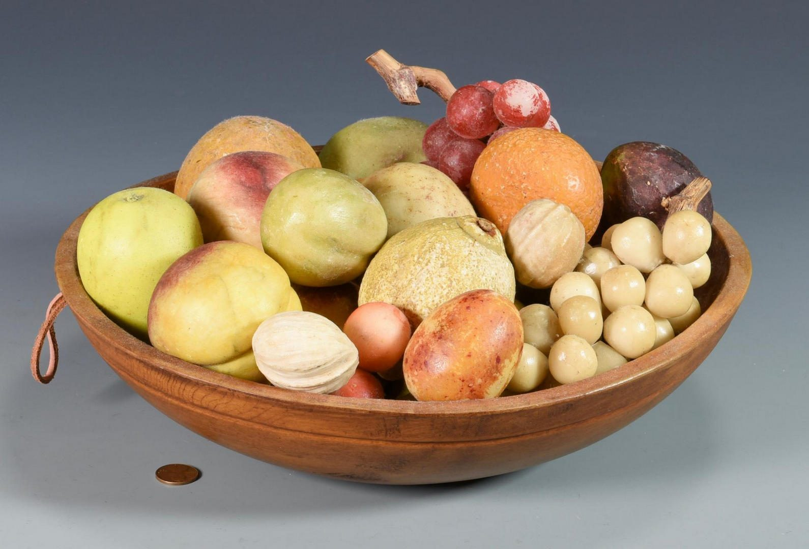 Lot 639: Carved Stone Fruit with bowl