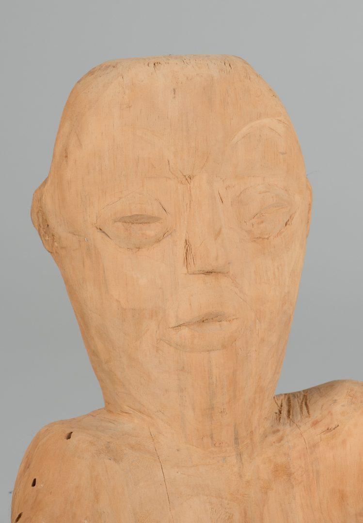 Lot 642: Raymond Coins,  Folk Art Carving of a Man