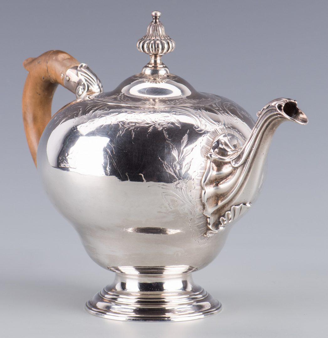 Lot 64: 18th c. Sterling Tea Service, Bullet Pot