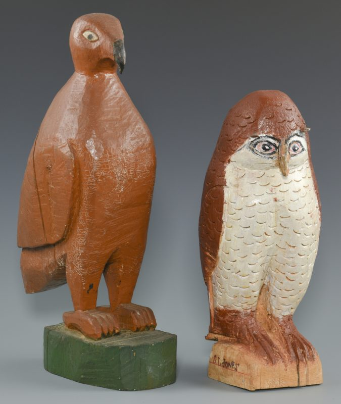Lot 650: Folk Art Bird Carvings, Shields Landon Jones and Finster