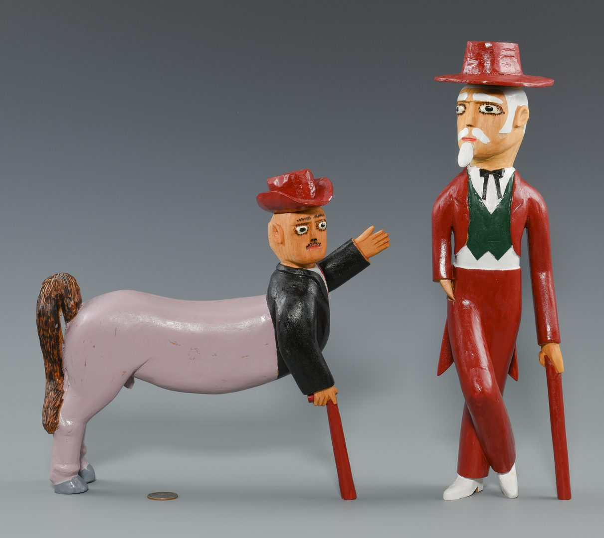 Lot 652: 2 Sulton Rogers Carvings, Man and Centaur