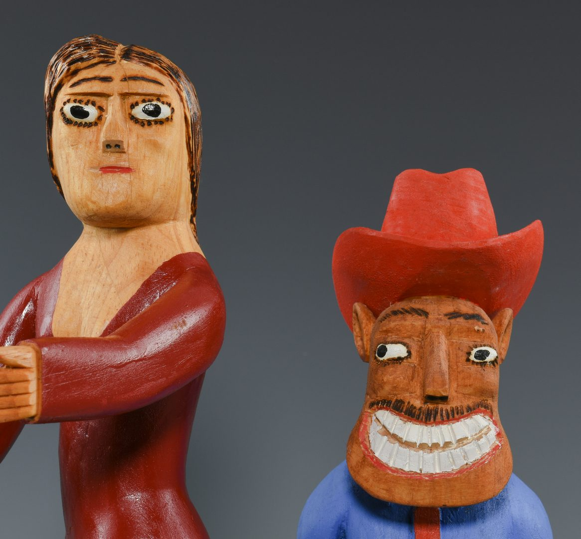 Lot 656: 2 Sulton Rogers Carvings, Man and Woman