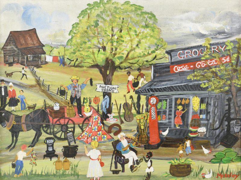 Lot 657: Alice Moseley, O/B, Auction Scene